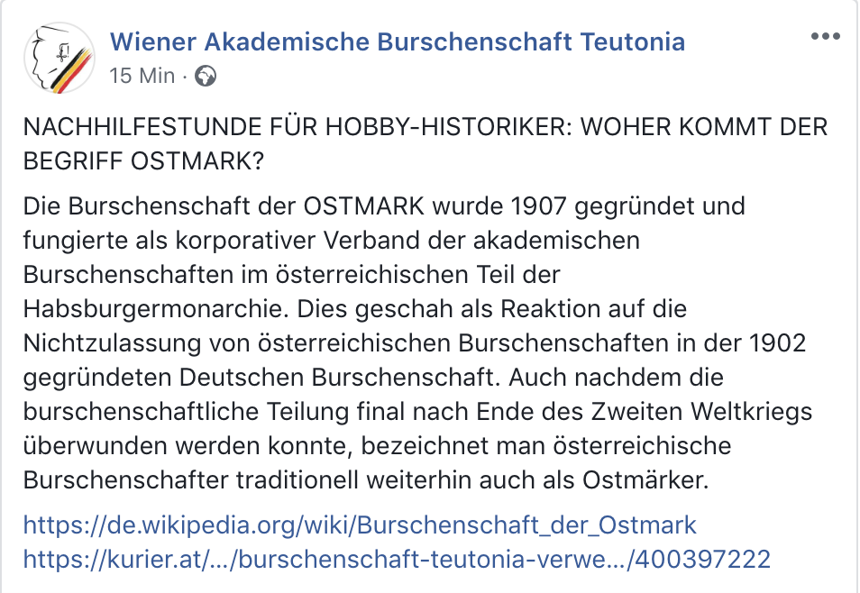 Teutonia 4.2.19: traditionelle Östmärker (Screenshot Facebook)