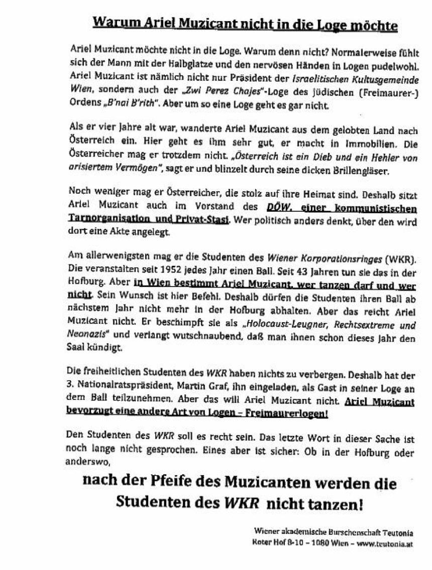 Teutonia: antisemitisches Flugblatt gegen Ariel Muzicant gerichtet (2012)