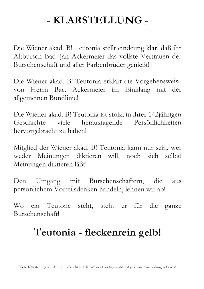 """Teutonia """"Klarstellung"""""""
