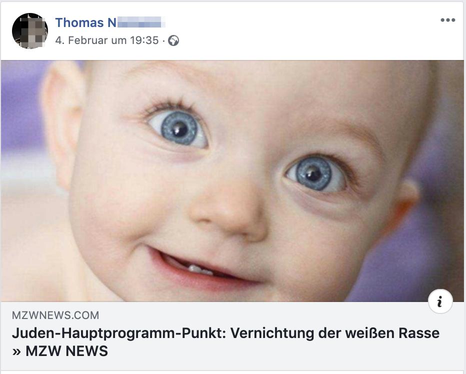 """Thomas N.: """"Juden-Hauptprogramm: Vernichtung der weißen Rasse"""""""