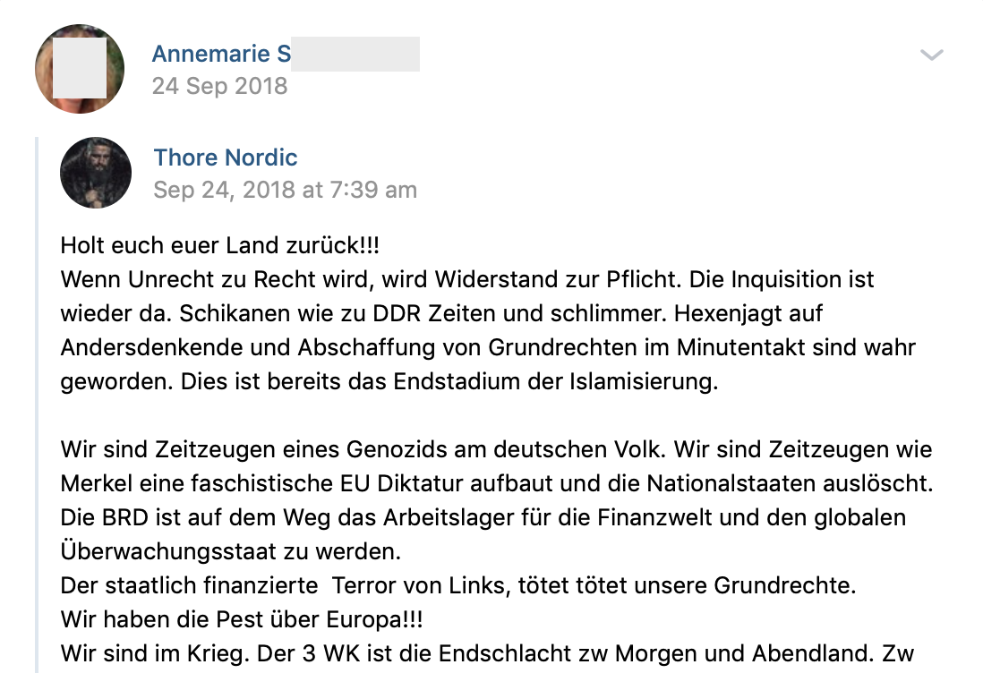 "S. teilt Thore Nordic ""Holt euch euer Land zurück!!!"" (vk.com 24.9.18)"