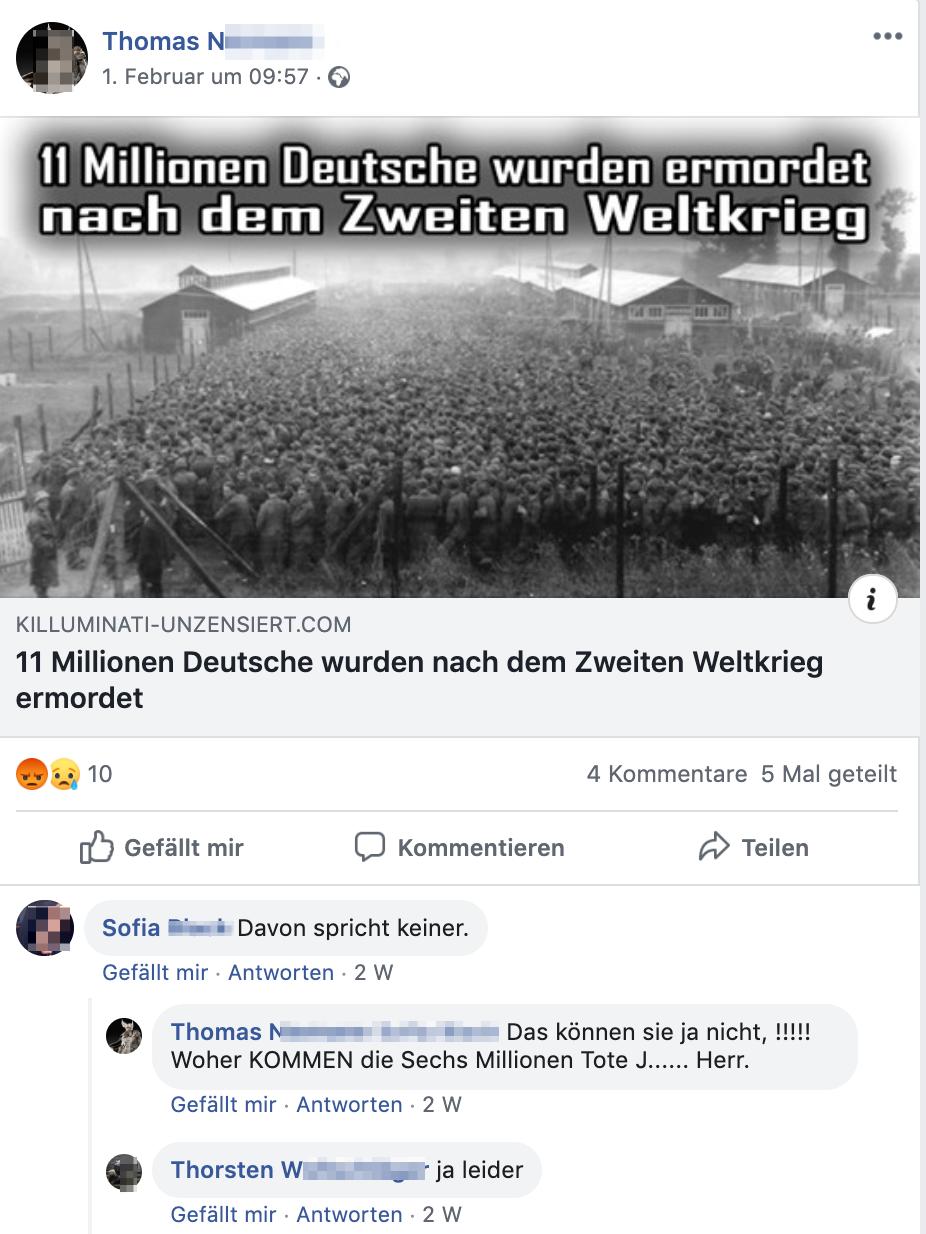 """Thomas N. teilt antisemitisches und Holocaustleugnendes Portal """"Killuminati"""": """"11 Millionen Deutsche wurden nach dem Zweiten Weltkrieg ermordet"""" Sofia: """"Davon spricht keiner."""" Thomas N.: """"Das können sie ja nicht, !!!!! Woher KOMMEN die Sechs Millionen Tote J...... Herr."""" Thorsten W.: """"ja leider"""""""