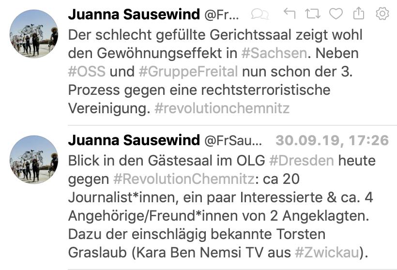 """Tweet """"schlecht gefüllter Gerichtssaal"""" beim Prozessauftakt der Gruppe """"Revolution Chemnitz"""""""