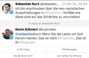 Twitter: Kurz zu Chemnitz, Antwort Kühnert (SPD)