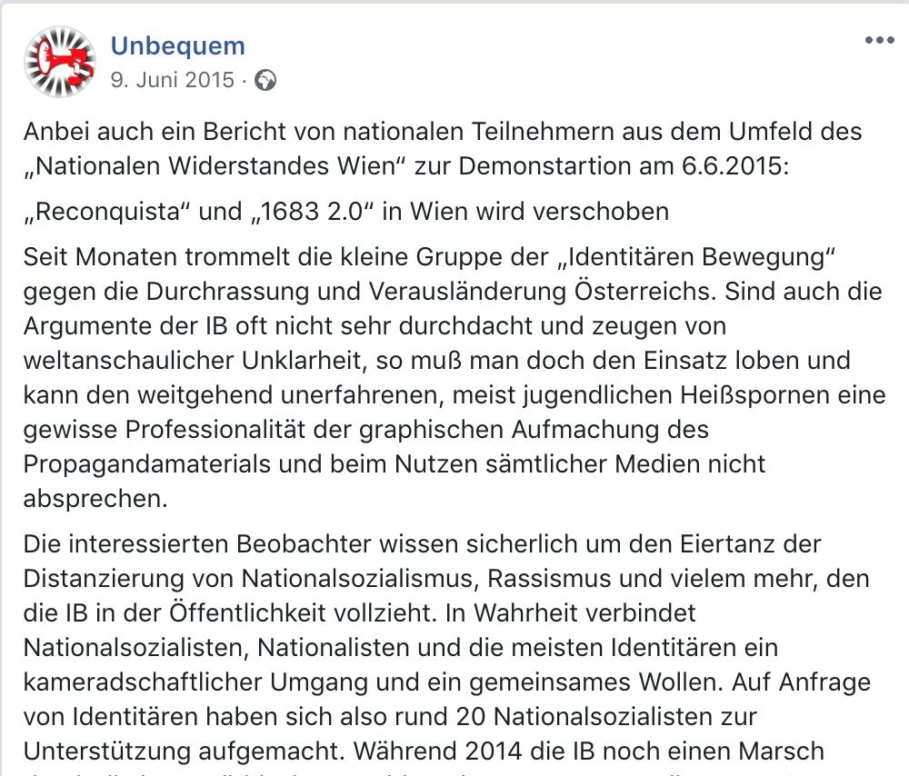 """""""Unbequem"""": Verhältnis Nationalsozialisten – Identitäre (9.6.15): """"In Wahrheit verbindet Nationalsozialisten, Nationalisten und die meisten Identitären ein kameradschaftlicher Umgang und ein gemeinsames Wollen. Auf Anfrage von Identitären haben sich also rund 20 Nationalsozialisten zur Unterstützung aufgemacht."""""""