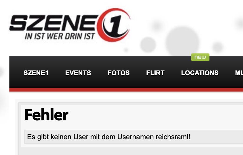 """aktuelle Abfrage: """"Es gibt keinen User mit dem Usernamen reichsraml!"""""""