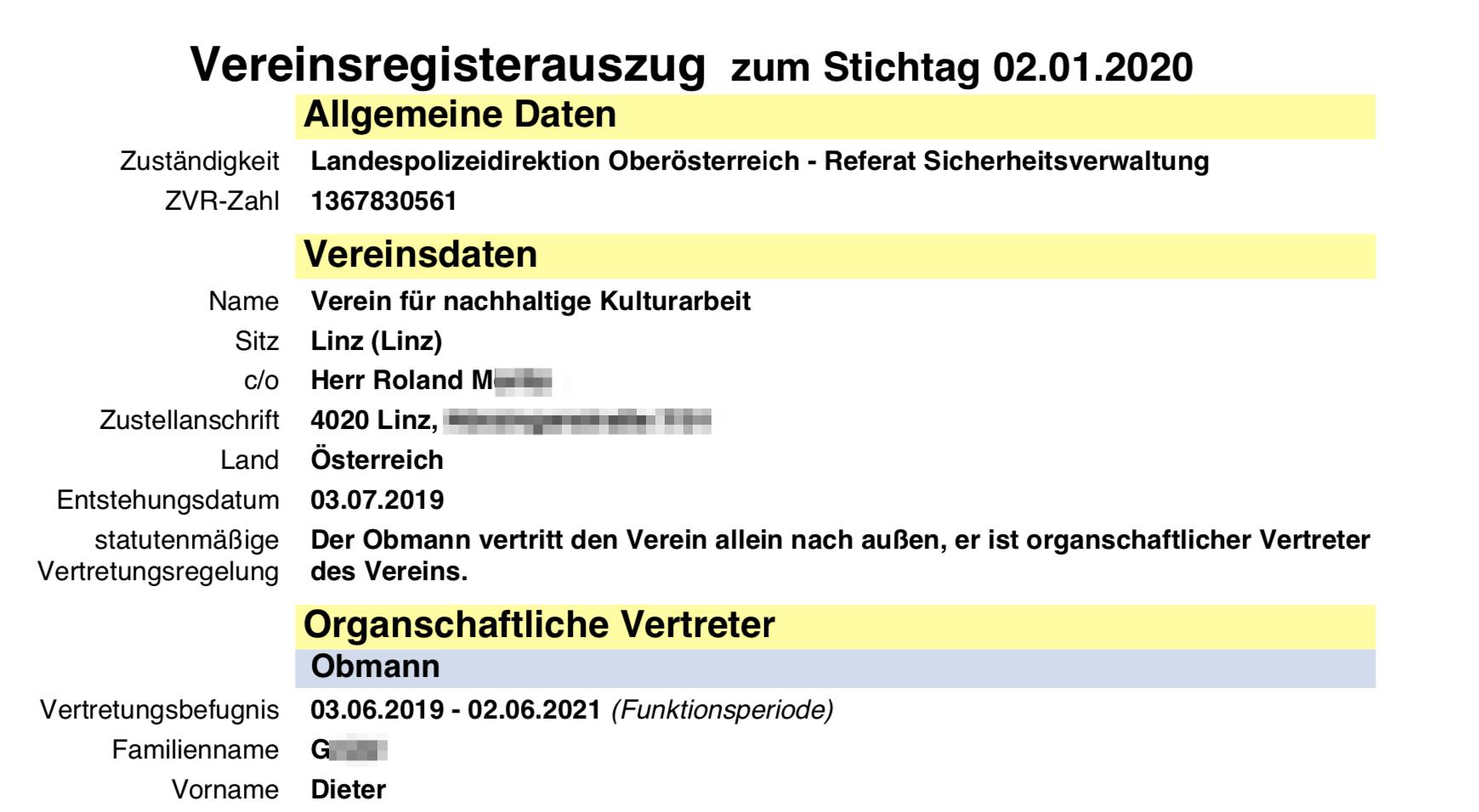 """Vereinsregisterauszug """"Verein für nachhaltige Kulturarbeit"""""""
