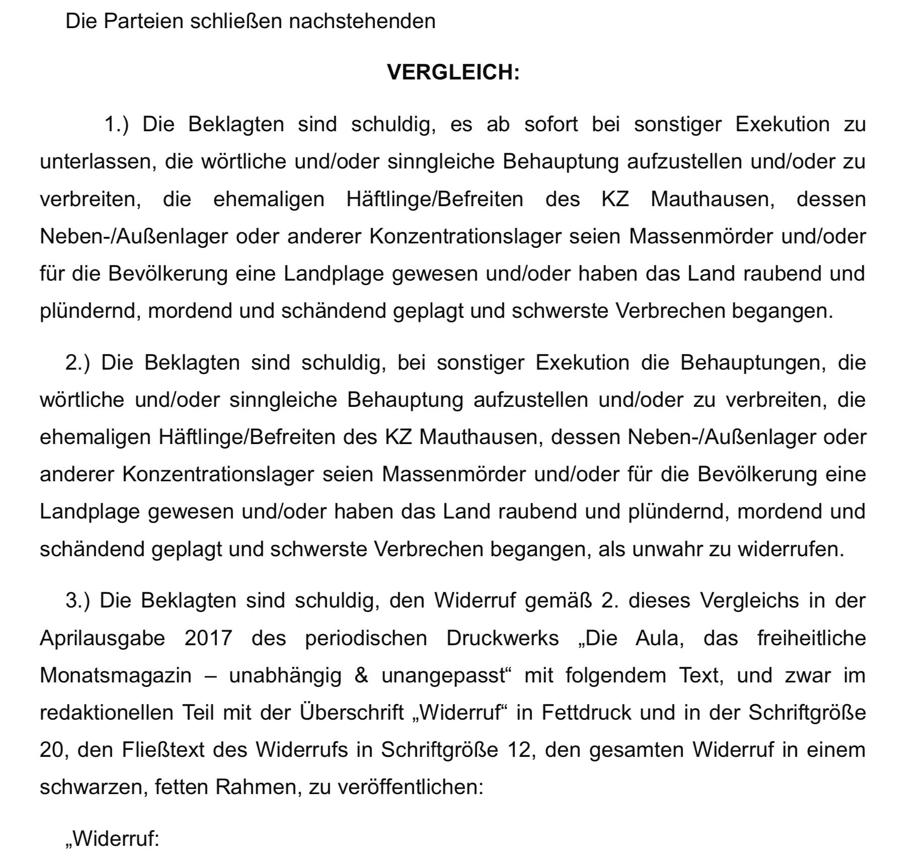 Vergleich vom 14.2.17 in der zivilrechtlichen Klage gegen Aula/Duswald