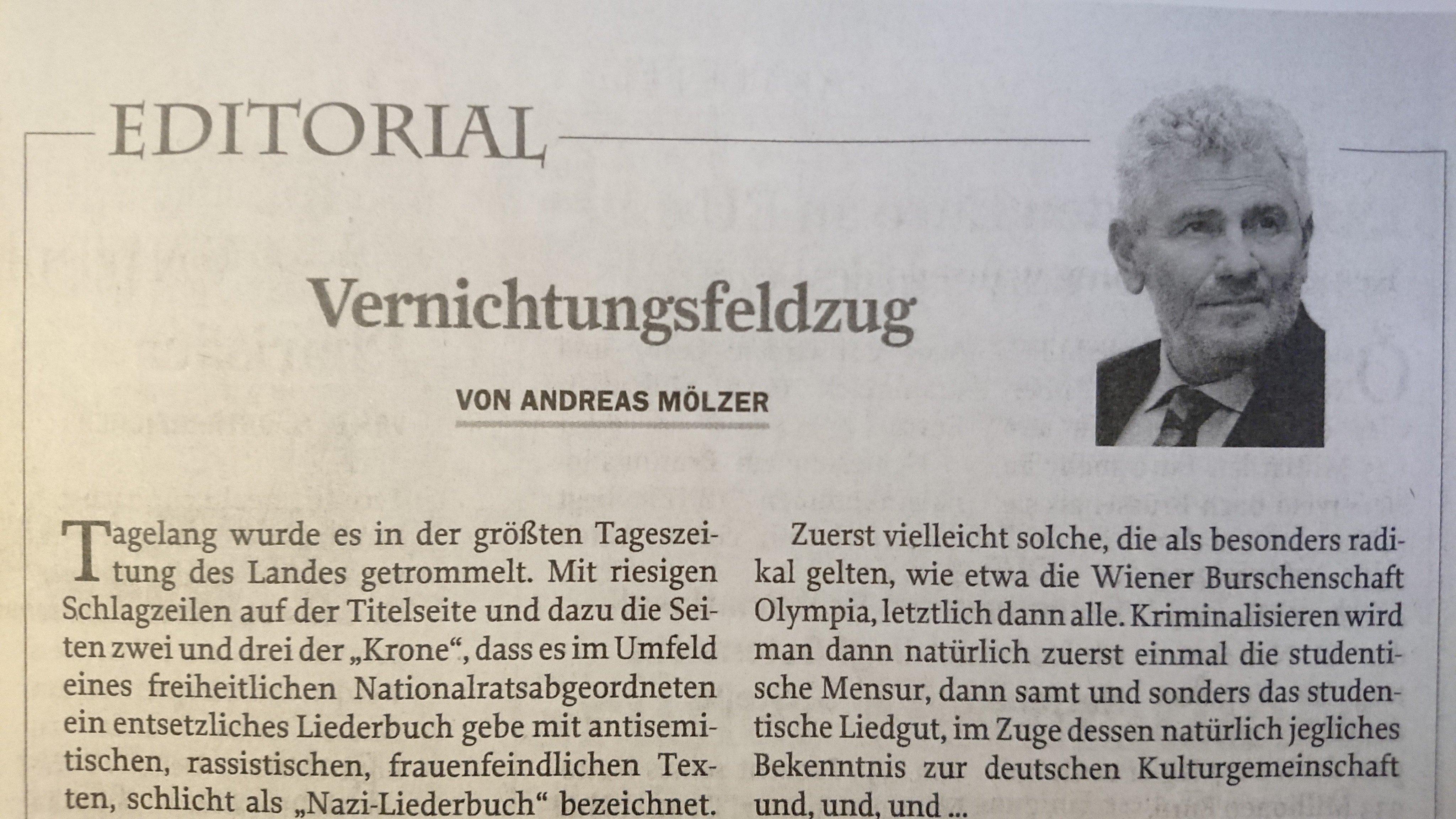 """Andreas Mölzer in Zur Zeit: """"Vernichtungsfeldzug"""""""
