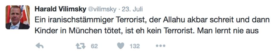 Vilimsky am 23. Juli 2016 zum Amoklauf eines Rechtsextremen in München