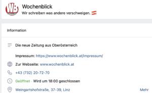 vk-Account Wochenblick mit Adresse in Linz