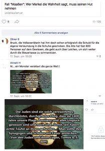 vk.com: Hasskommentare gegen Merkel und Antisemitismus
