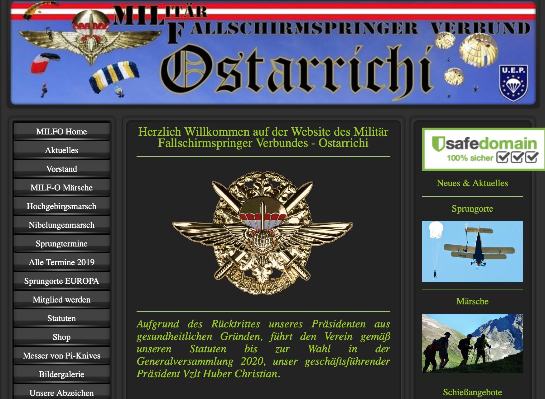 Webauftritt MILF-O: Märsche, Messer, Schießübungen