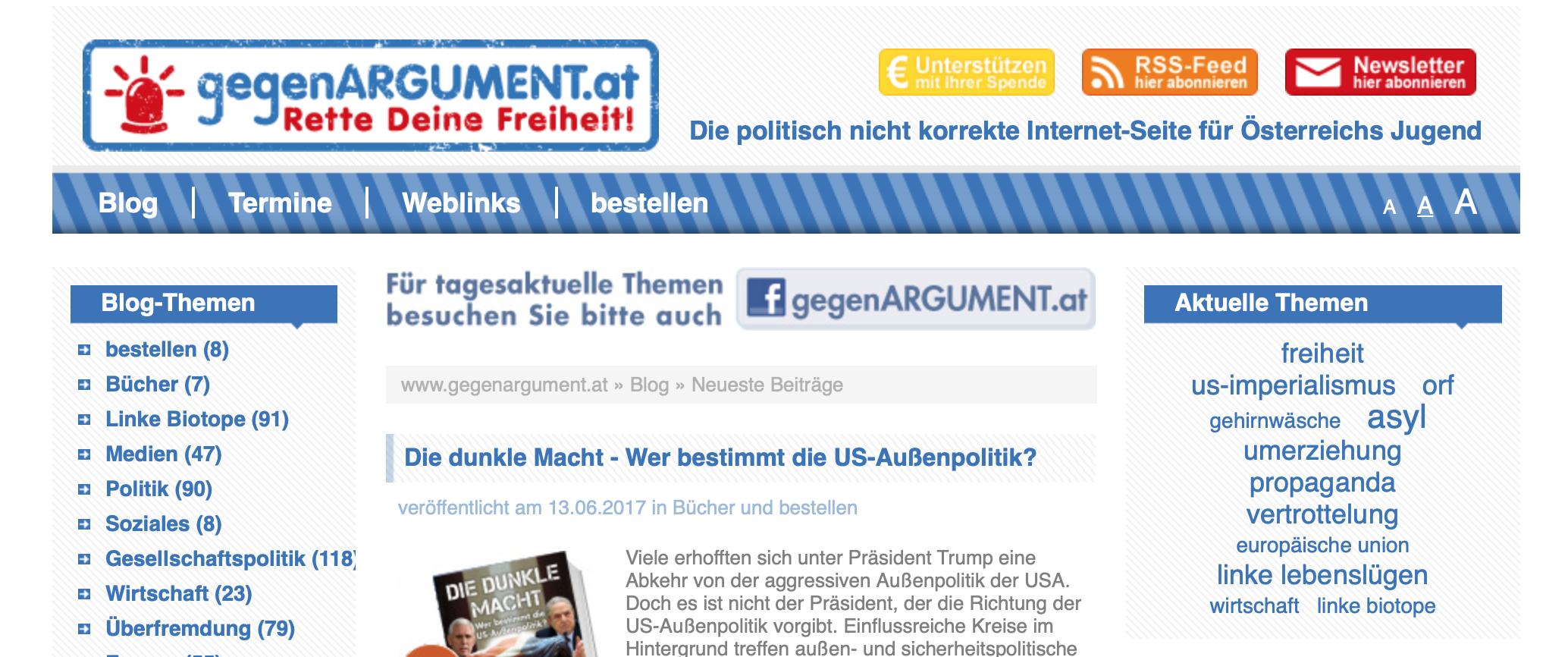 "Website ""gegenARGUMENT"" Aula-Verlag"