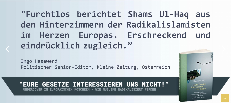 """Zitat """"Kleine Zeitung"""" (Screenshot Website https://shamsulhaq.de)"""
