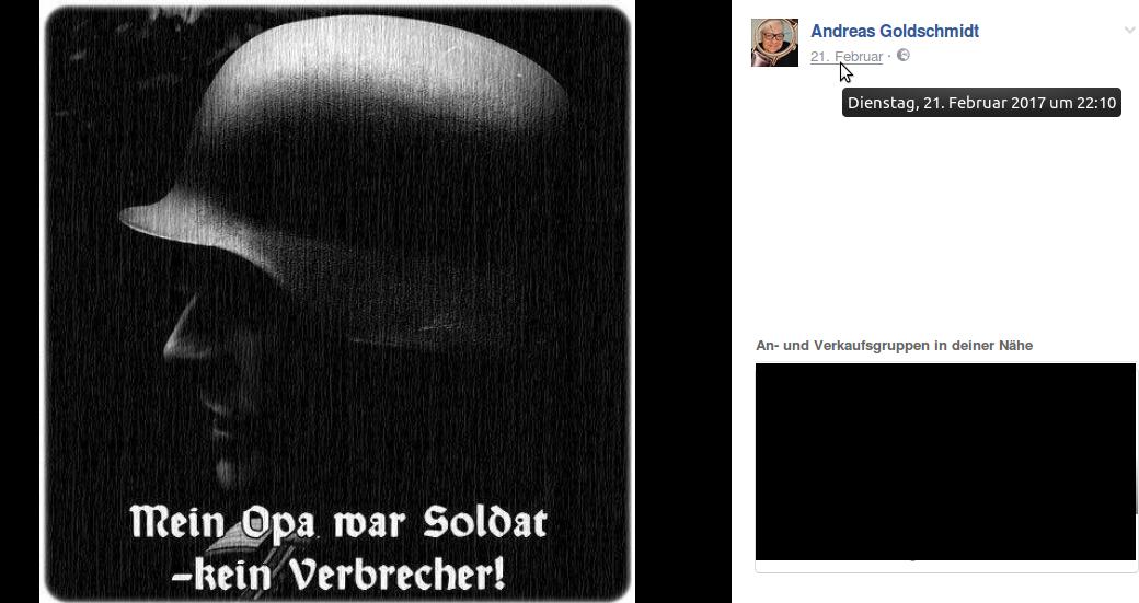 Ein bei Neonazis und einschlägigen Netzwerken beliebtes Sujet:  Mein Opa war Soldat – kein Verbrecher!