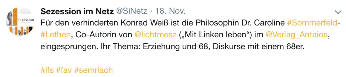 """Konrad Weiß war """"verhindert"""" (Screenshot Twitter)"""