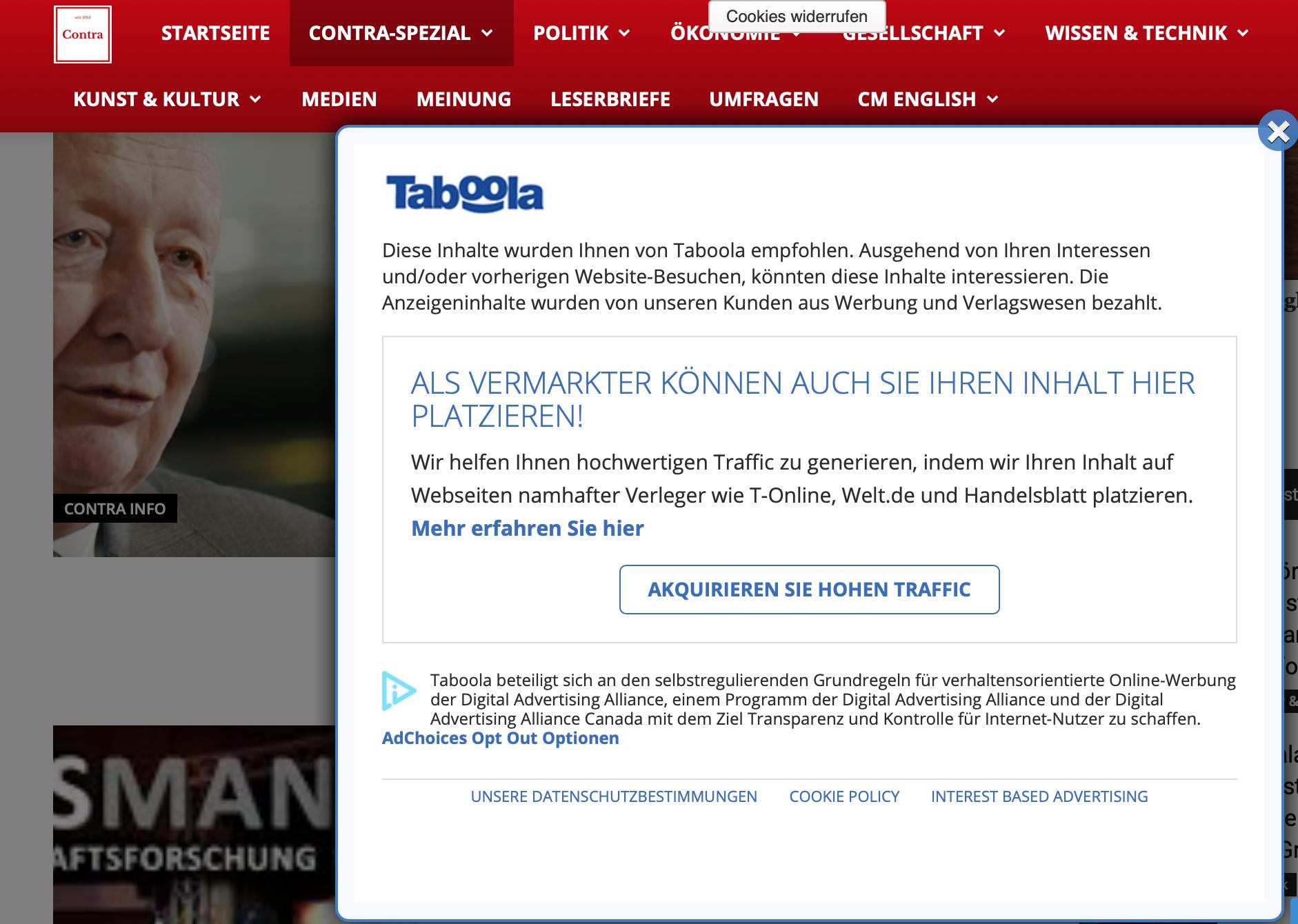 Werbung üner Taboola auf der Website Contra Magazin (Last view: 28.2.19)