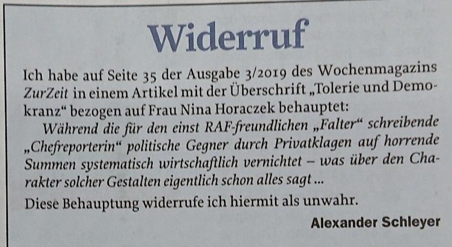 """Schleyer muss in """"Zur Zeit"""" widerrufen"""