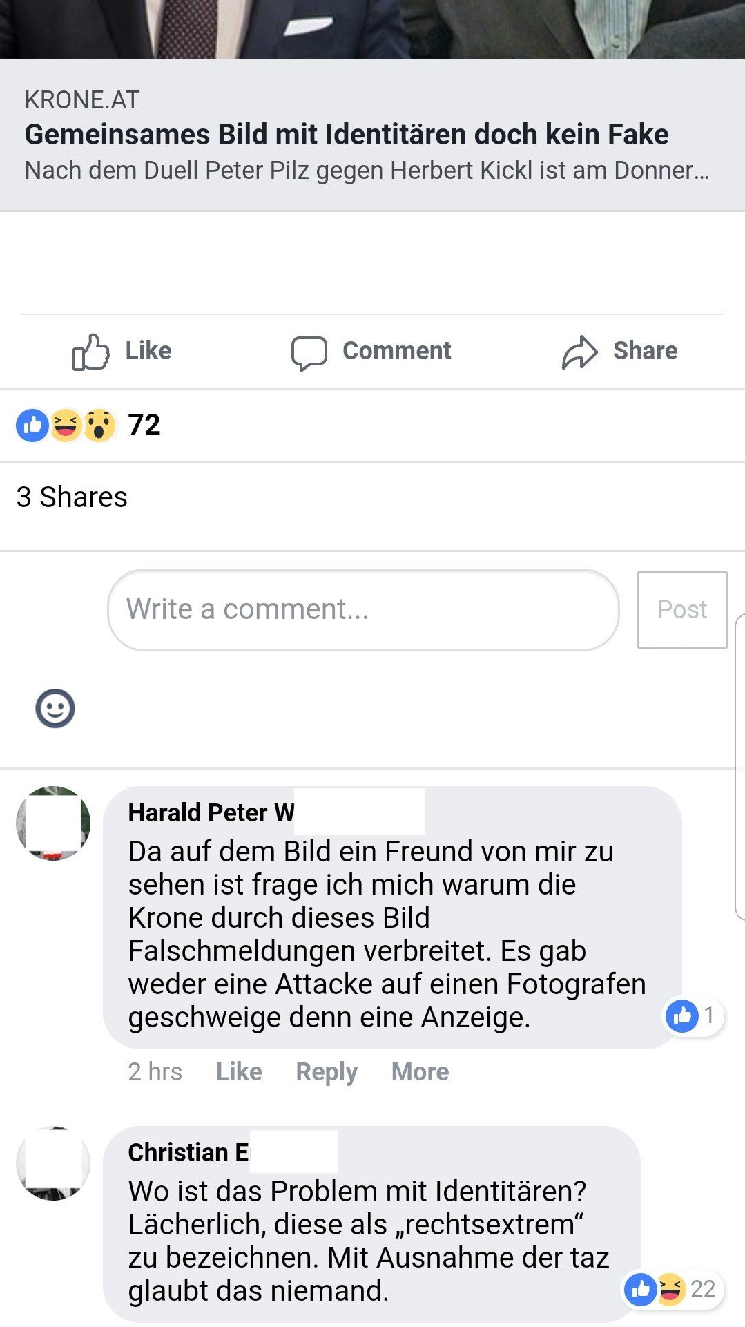 Traurige Identitäre 2 (Screenshot Facebook ©FPÖ Fails)