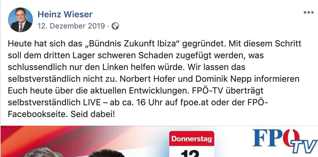 """Heinz Wieser über das """"Bündnis Zukunft Ibiza"""""""