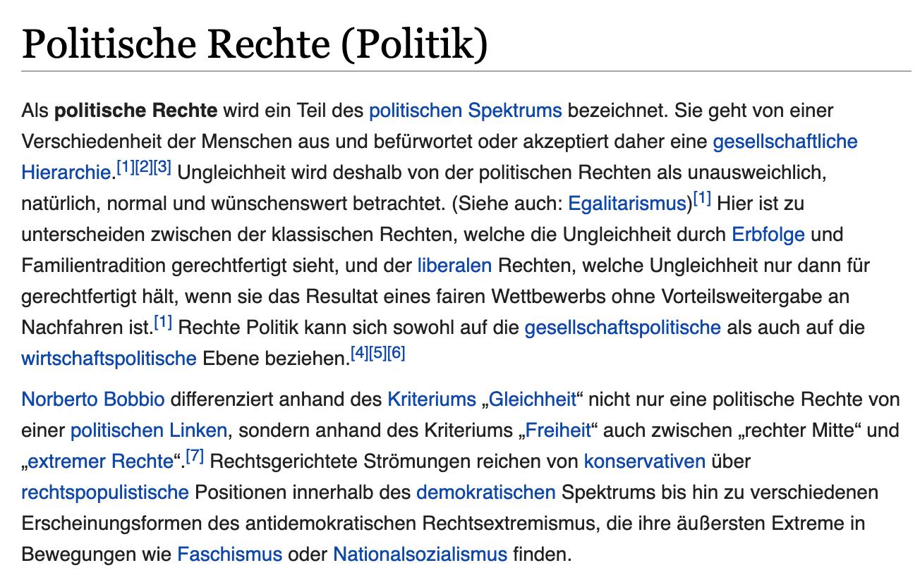 """Wikipedia zu """"Politische Rechte"""""""