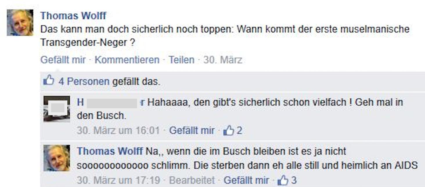 "Wolff als Rassist – ""muselmanische Transgender-Neger"" (Screenshot 2015 via FPÖ Fails)"