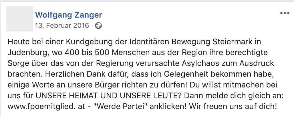 Wolfgang Zanger bei einer Identitären-Kundgebung in Judenburg am 13.2.16