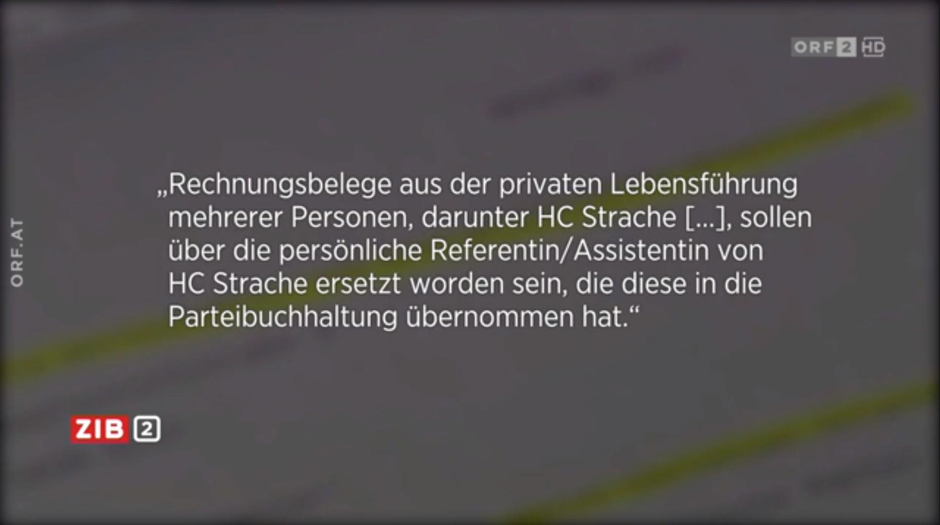Screenshot ZiB2 (23.9.19): aus der anonymen Anzeige gegen Strache und die FPÖ