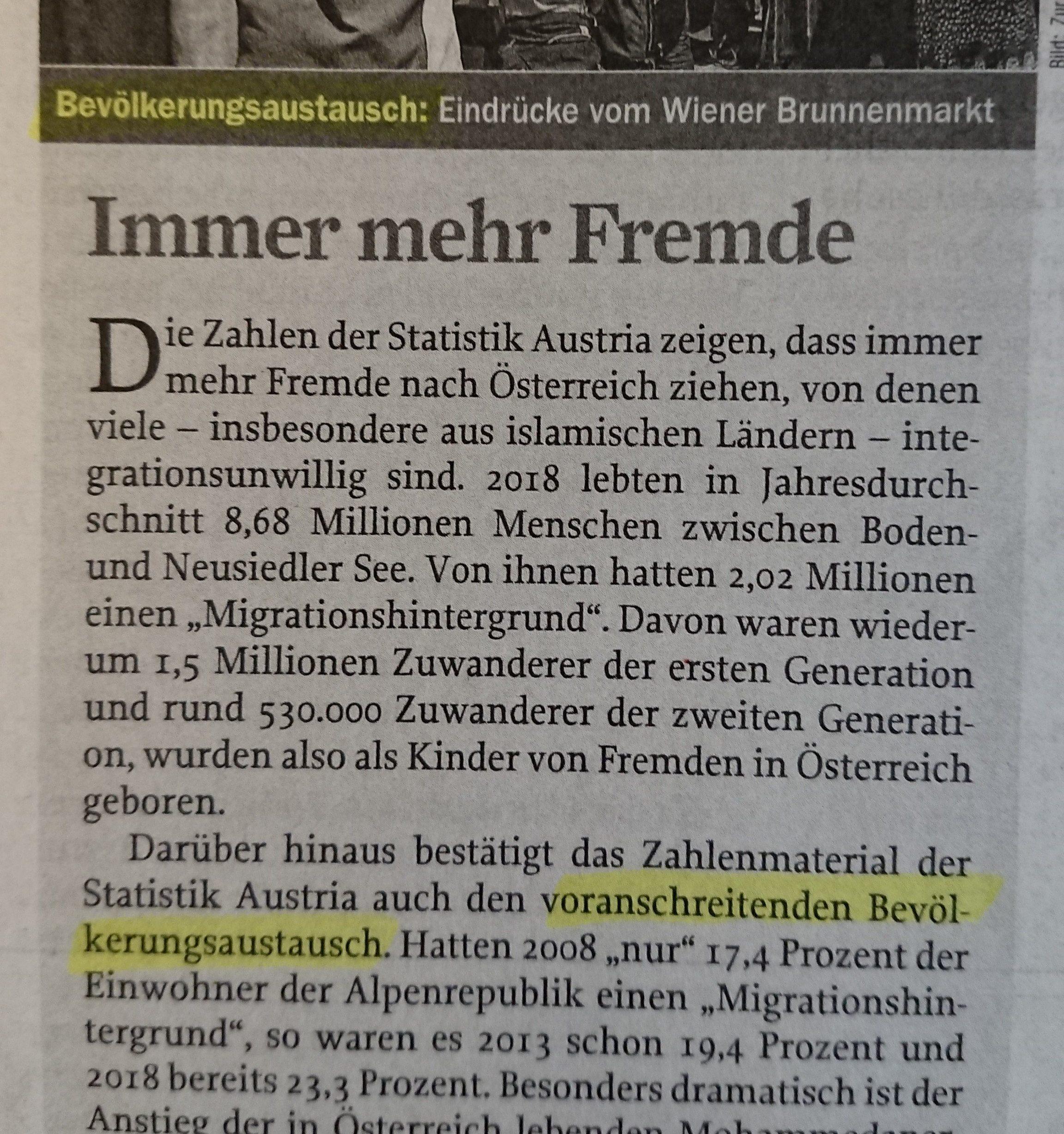 """""""Bevölkerungsaustausch"""" in Zur Zeit"""