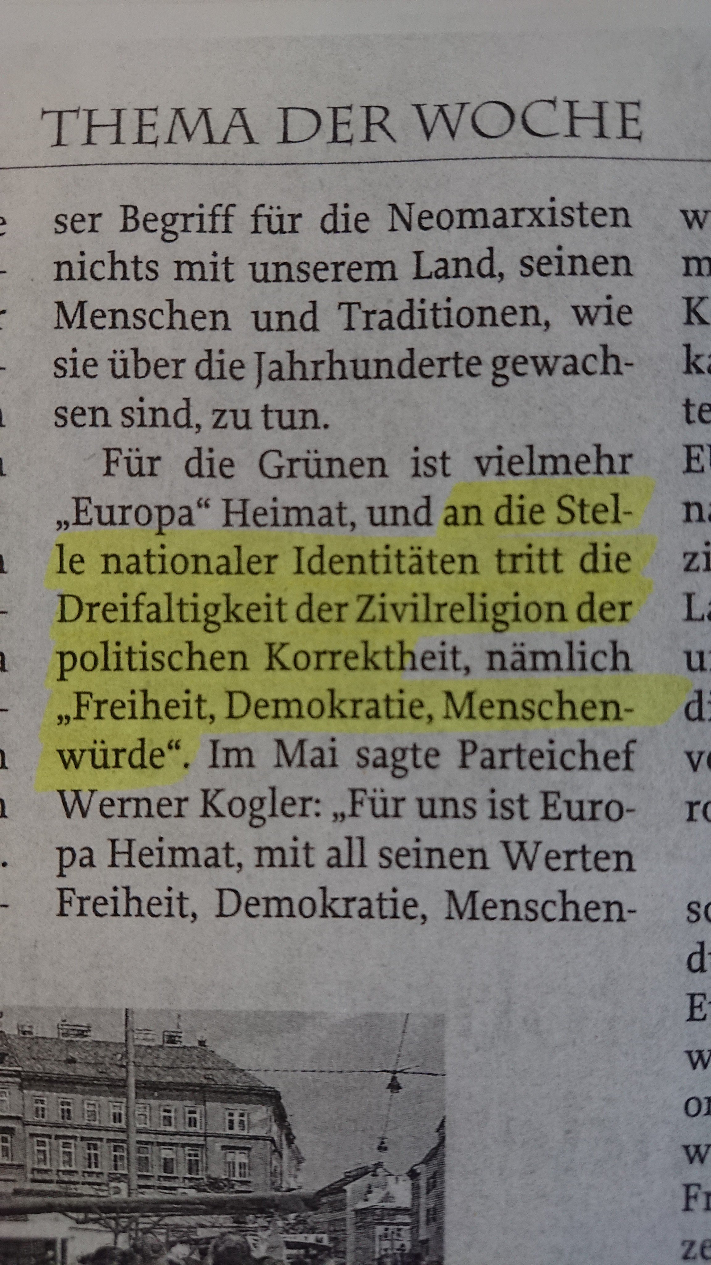 """Zur Zeit: """"die Dreifaltigkeit der Zivilreligion der politischen Korrektheit, nämlich 'Freiheit, Demokratie, Menschenwürde'"""""""