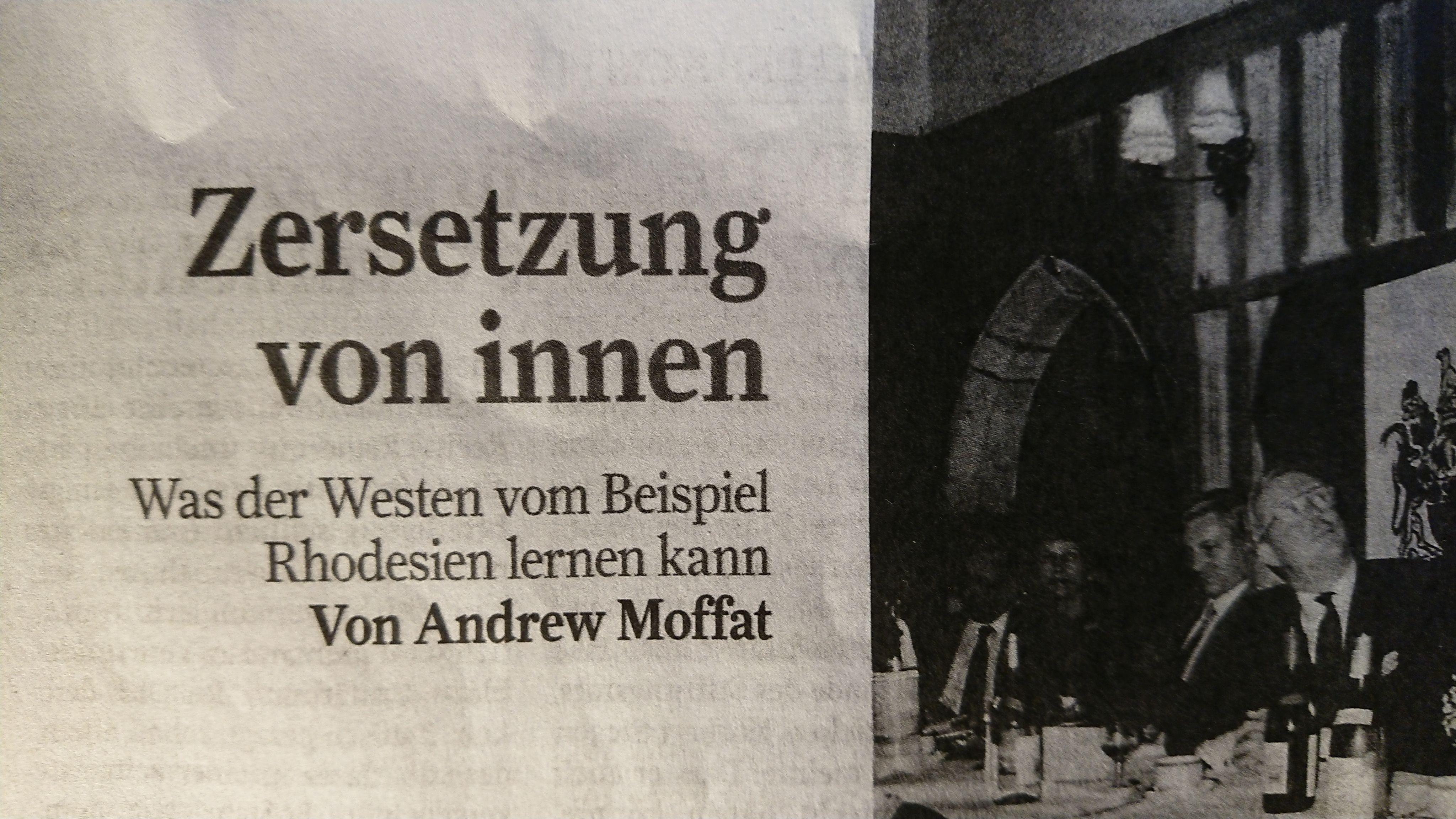 """""""Zur Zeit"""" Nr. 18, Mai 2019, S. 38-40, Moffat Rhodesien"""