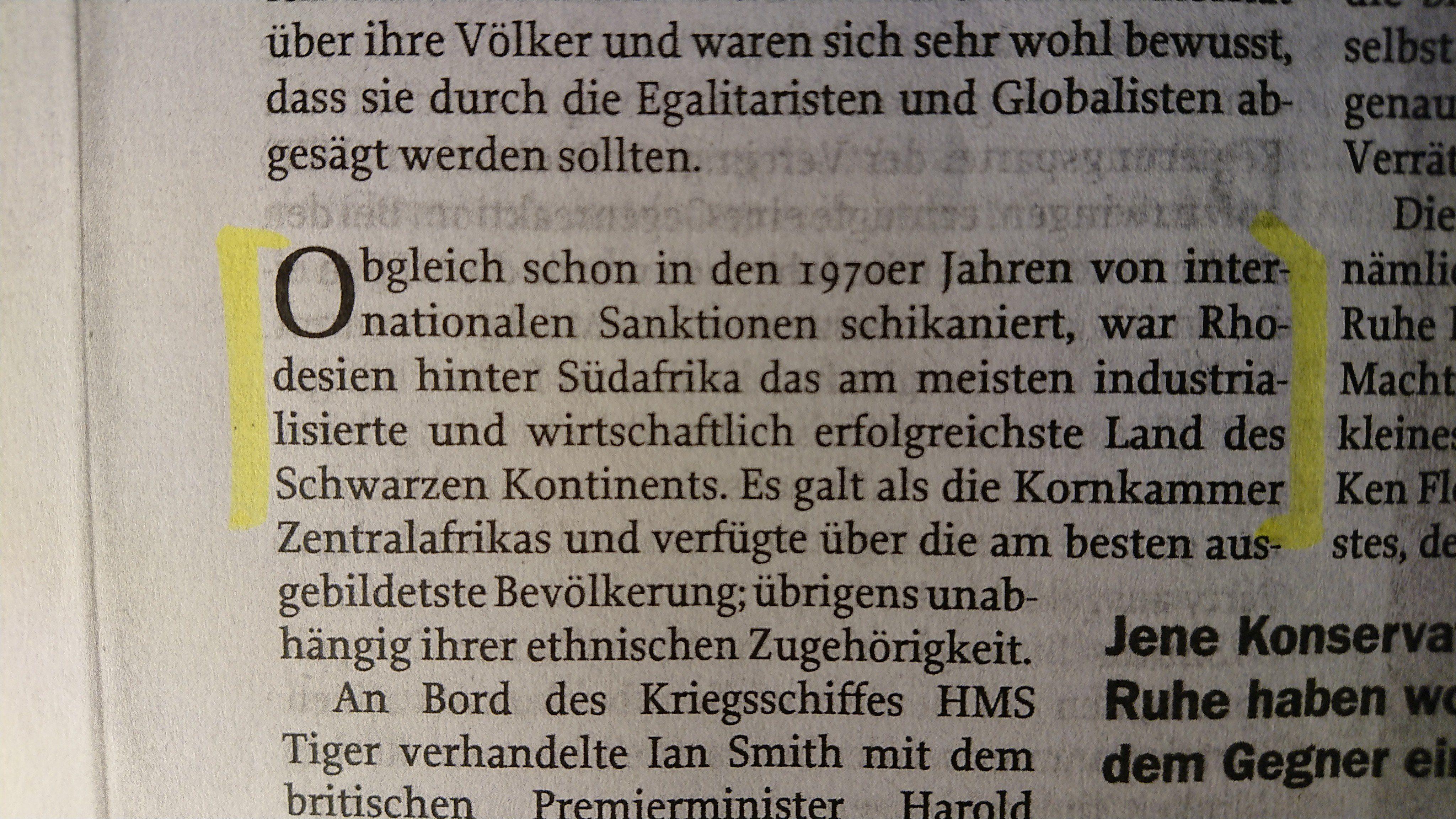 """""""Zur Zeit"""" Nr. 18, Mai 2019, S. 38-40, Moffat Rhodesien; """"von internationalen Sanktionen schikaniert"""""""