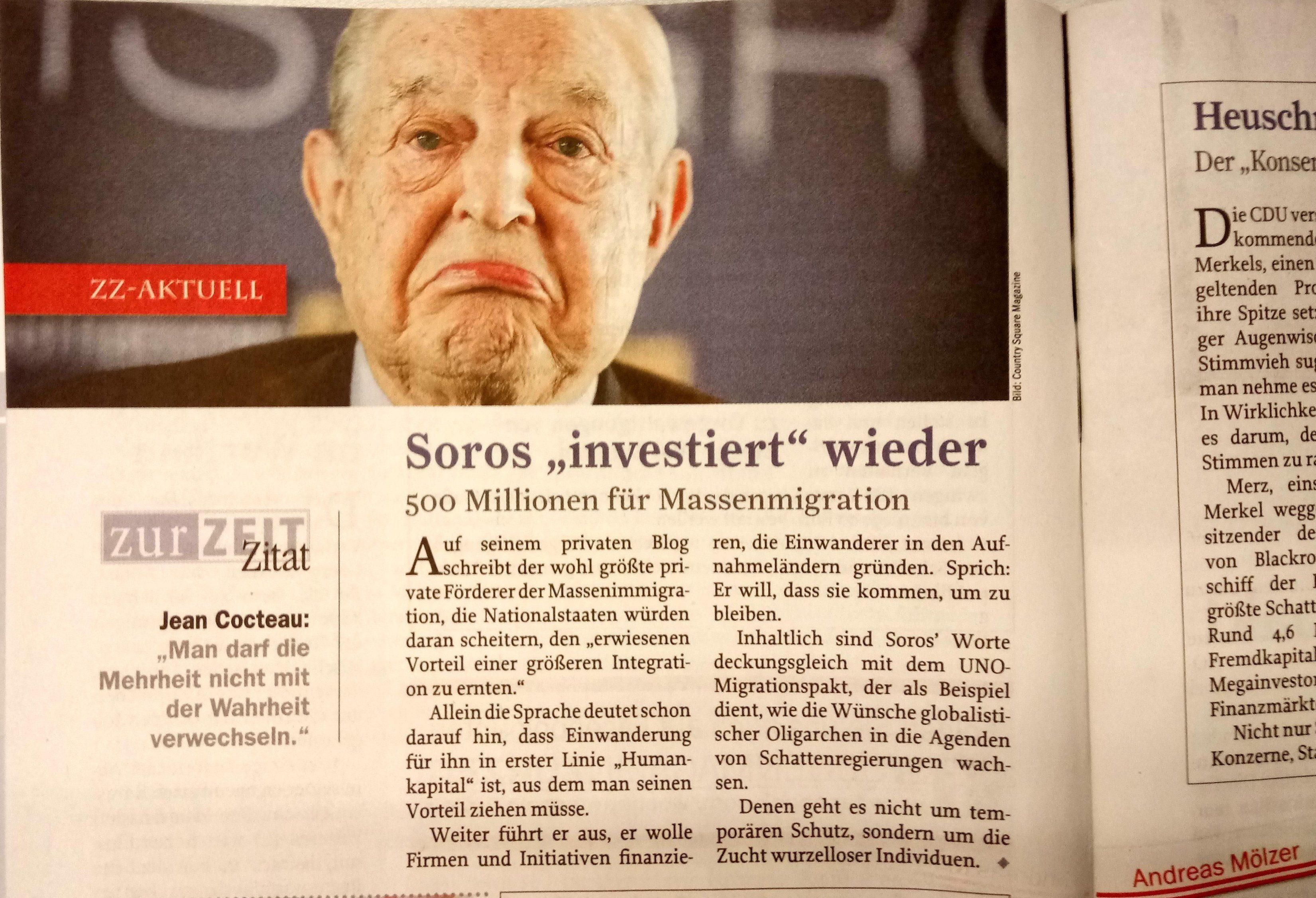 """Anti-Soros-Propaganda in """"Zur Zeit"""" Ausgabe 45/18: """"Es geht um die Zucht wurzelloser Individuen"""""""