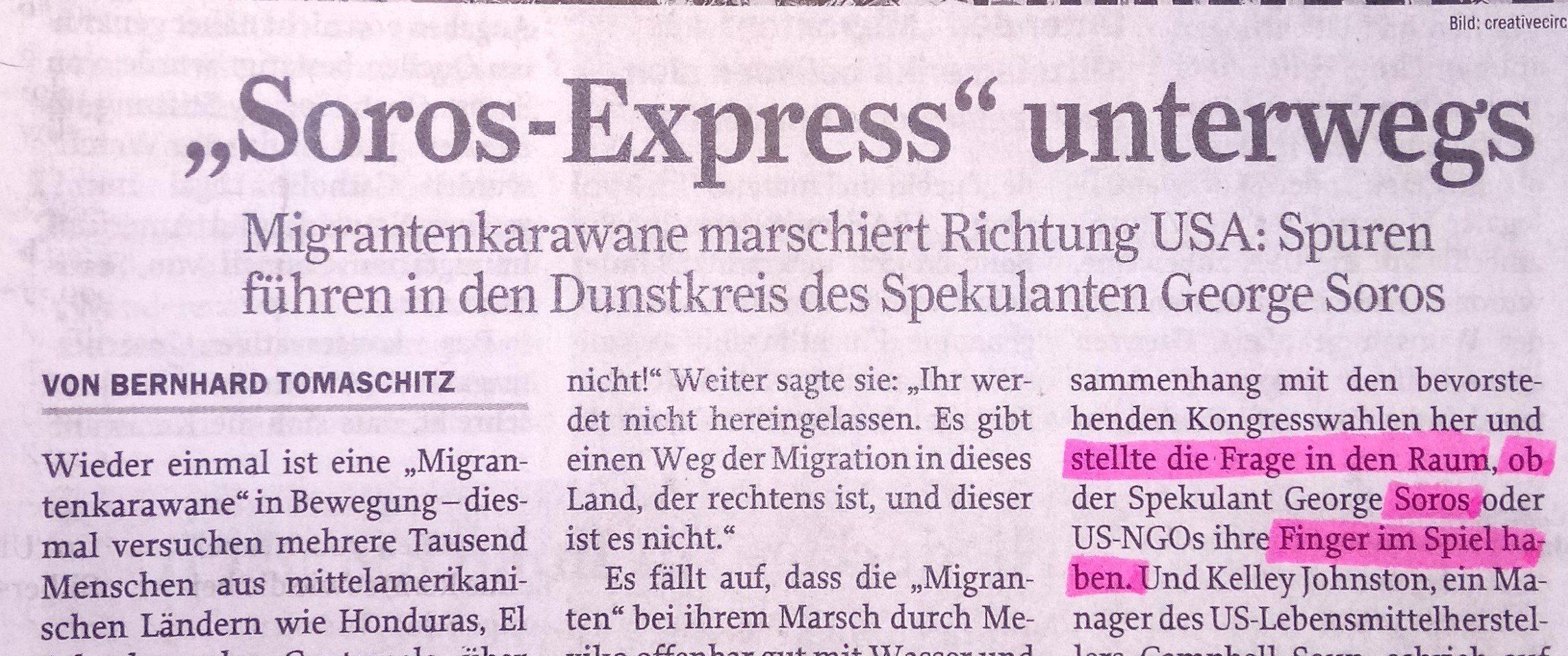"""Bernhard Tomaschitz in """"Zur Zeit"""" Ausgabe 45/18 """"Migrantentkarawane"""" als """"Soros-Express"""""""